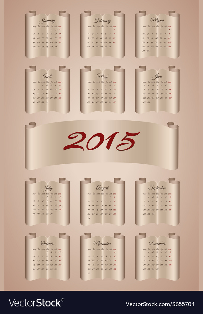 Calendar 2015 on aged paper scroll vector | Price: 1 Credit (USD $1)