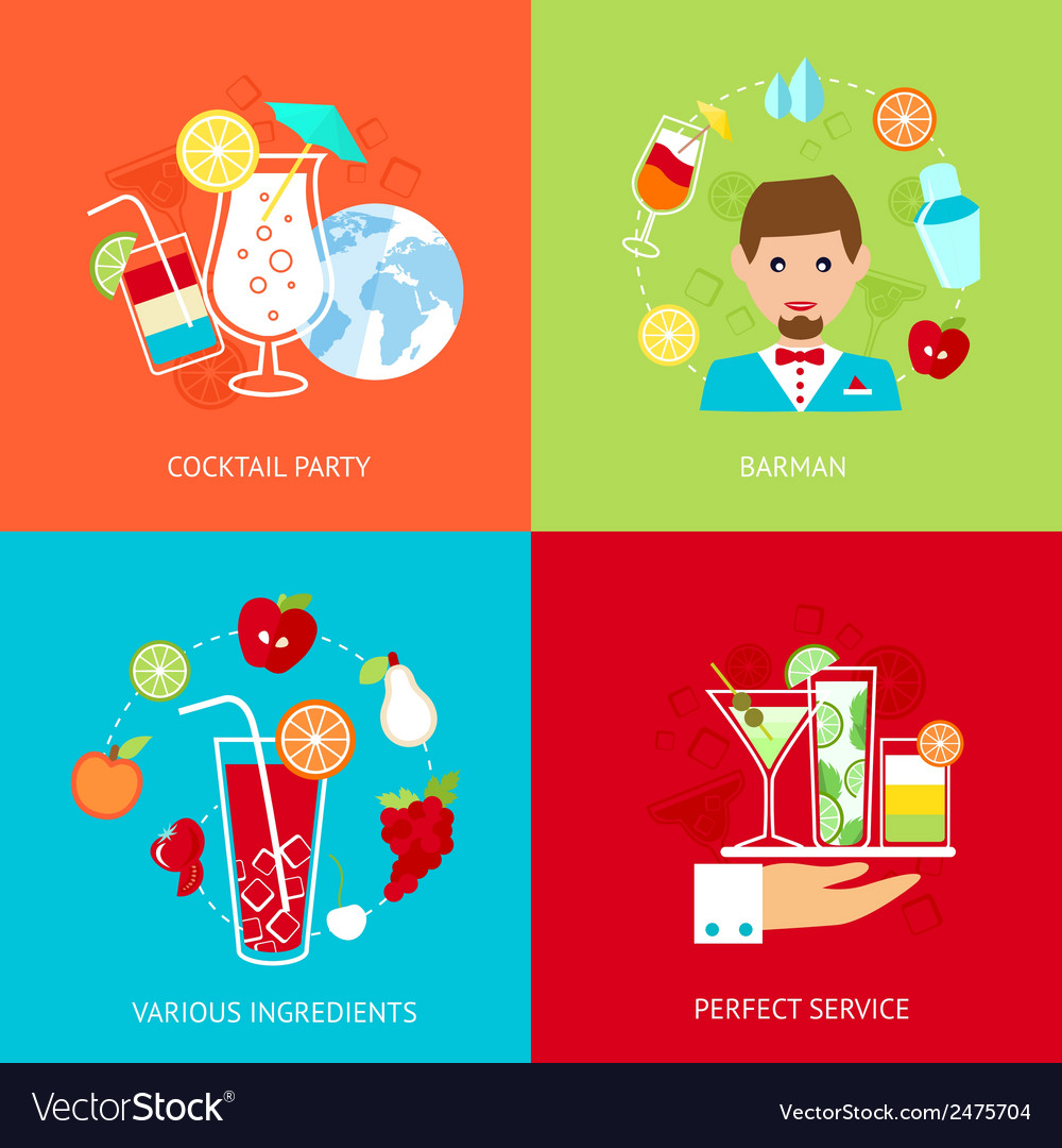 Cocktail icons set vector | Price: 3 Credit (USD $3)