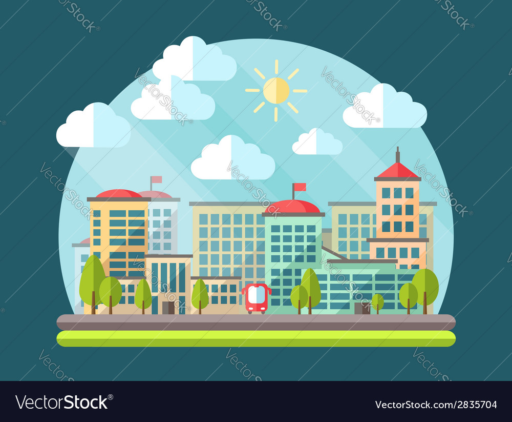 Flat design urban landscape vector | Price: 1 Credit (USD $1)