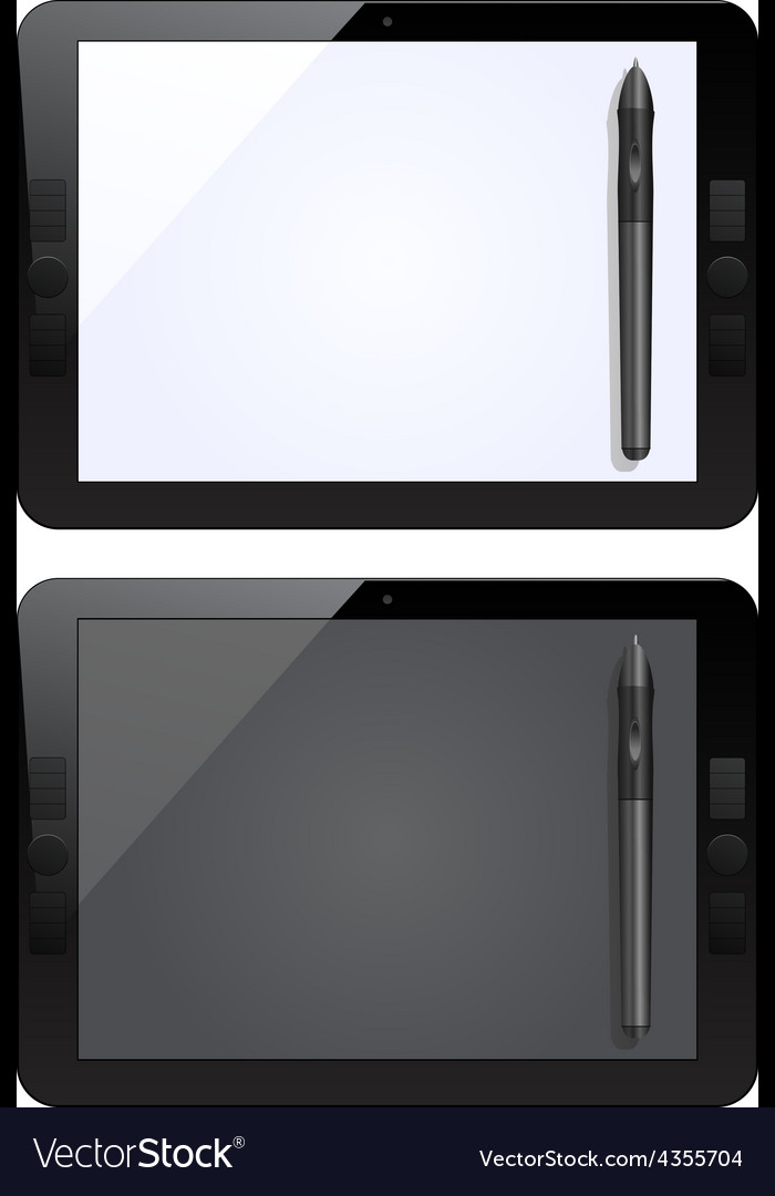 Graphic tablet and pen vector