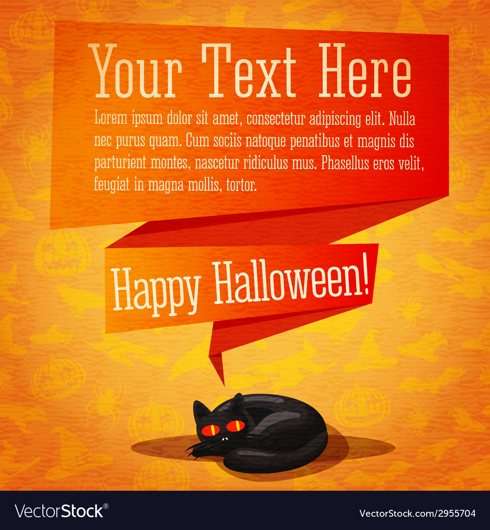 Happy halloween cute retro banner or greeting card vector | Price: 1 Credit (USD $1)