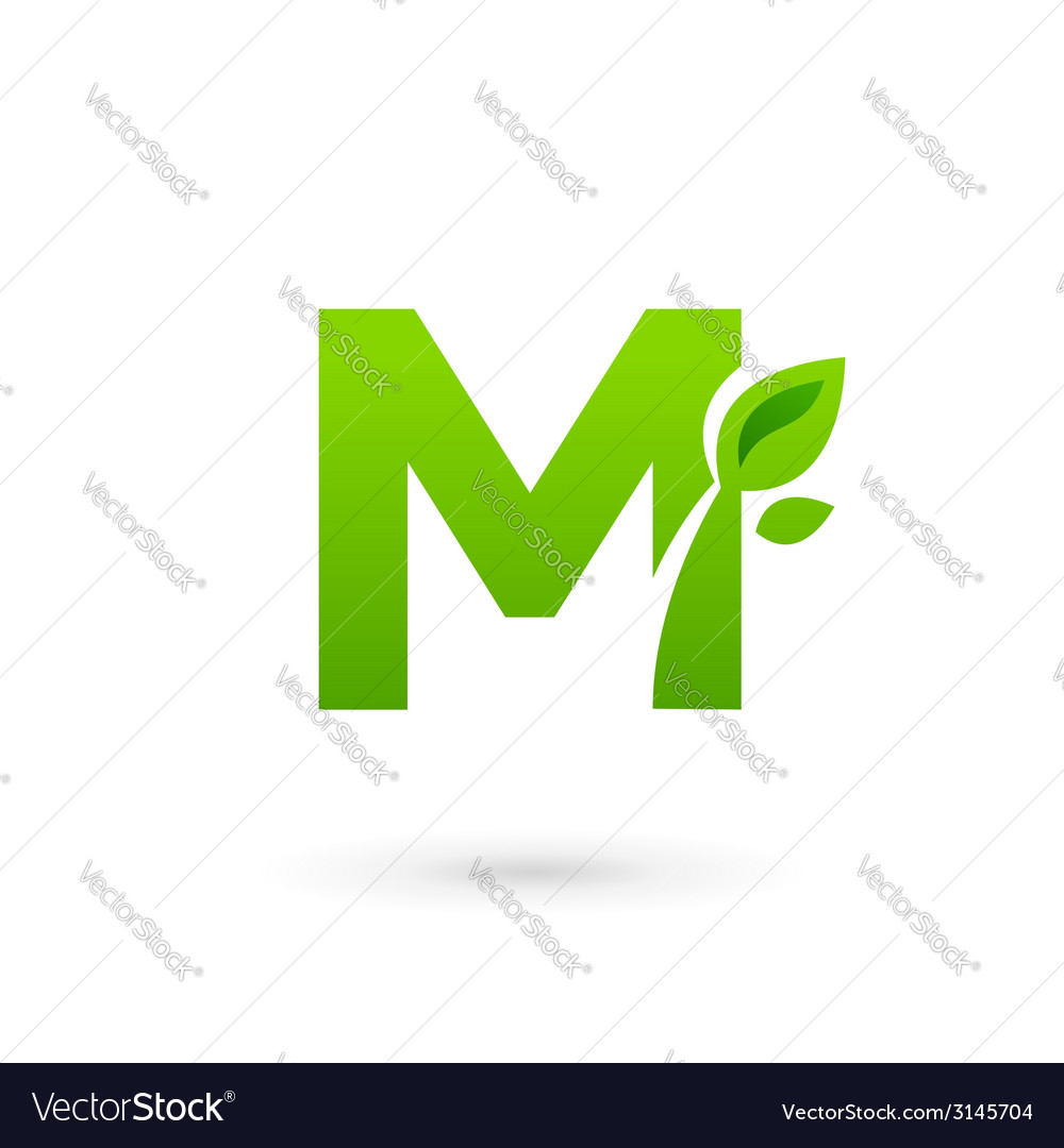 Letter m eco leaves logo icon design template vector | Price: 1 Credit (USD $1)