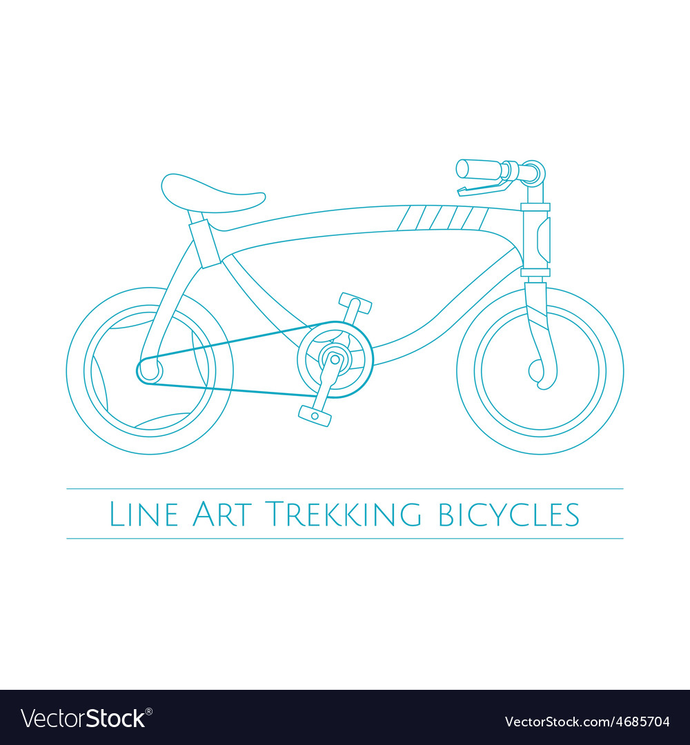 Line art trekking bicycles two vector | Price: 1 Credit (USD $1)