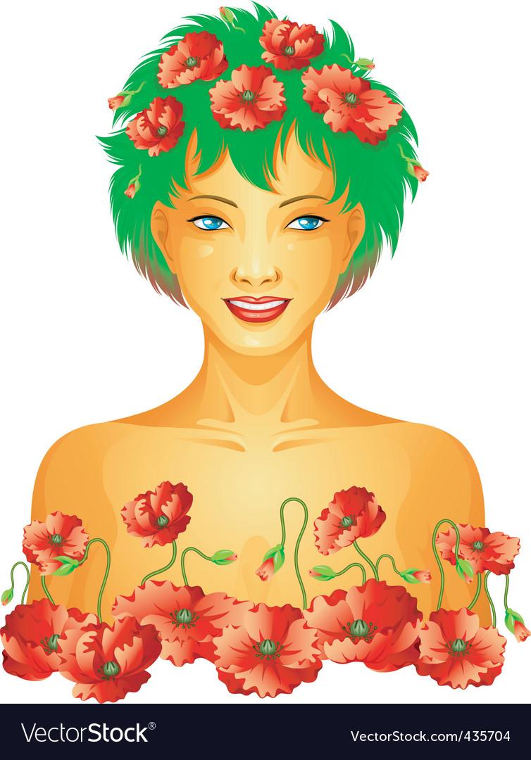 Poppy spring girl vector | Price: 3 Credit (USD $3)
