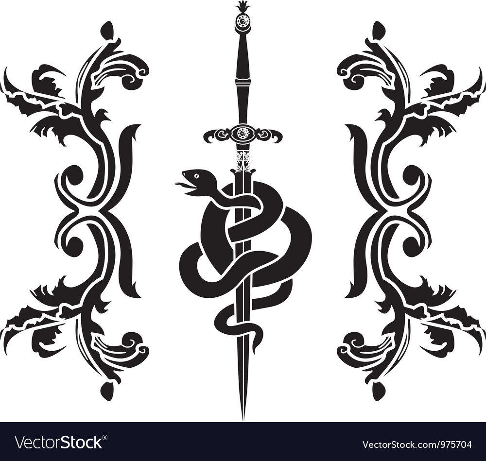 Snake and sword stencil vector | Price: 1 Credit (USD $1)
