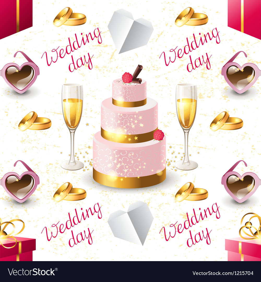 Wedding seamless on white background vector | Price: 1 Credit (USD $1)