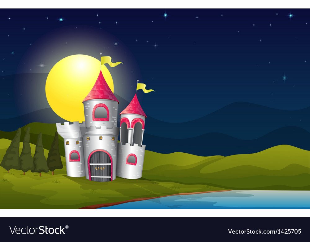 A castle at the riverbank near the pine trees vector | Price: 1 Credit (USD $1)