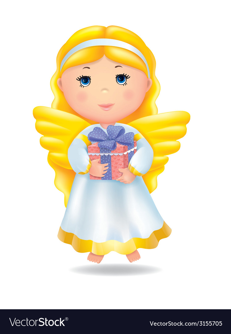Angel with gift vector | Price: 1 Credit (USD $1)