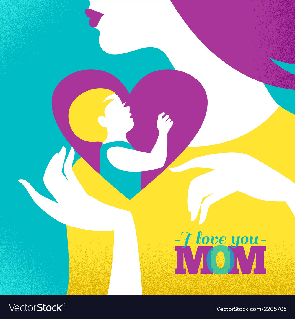 Beautiful silhouette of mother and baby in heart vector | Price: 1 Credit (USD $1)