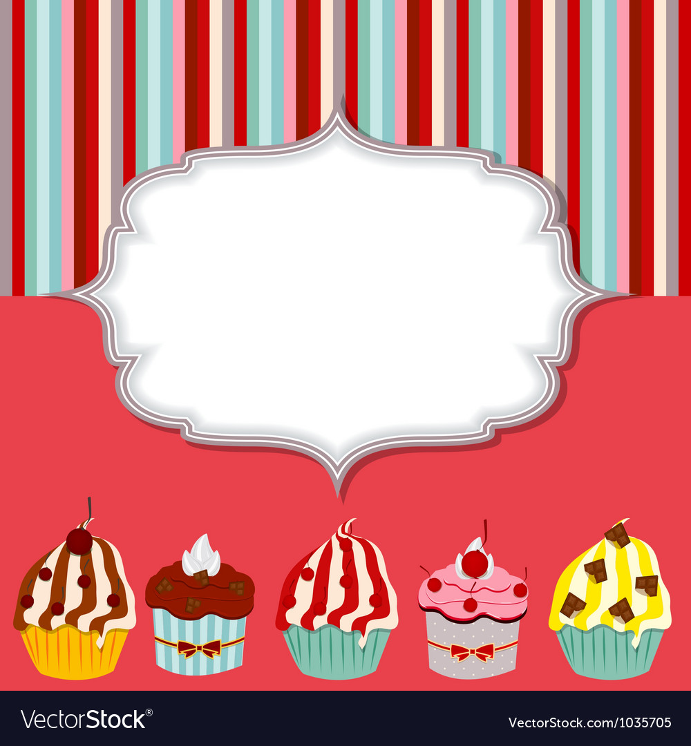 Cupcake invitation card vector | Price: 1 Credit (USD $1)