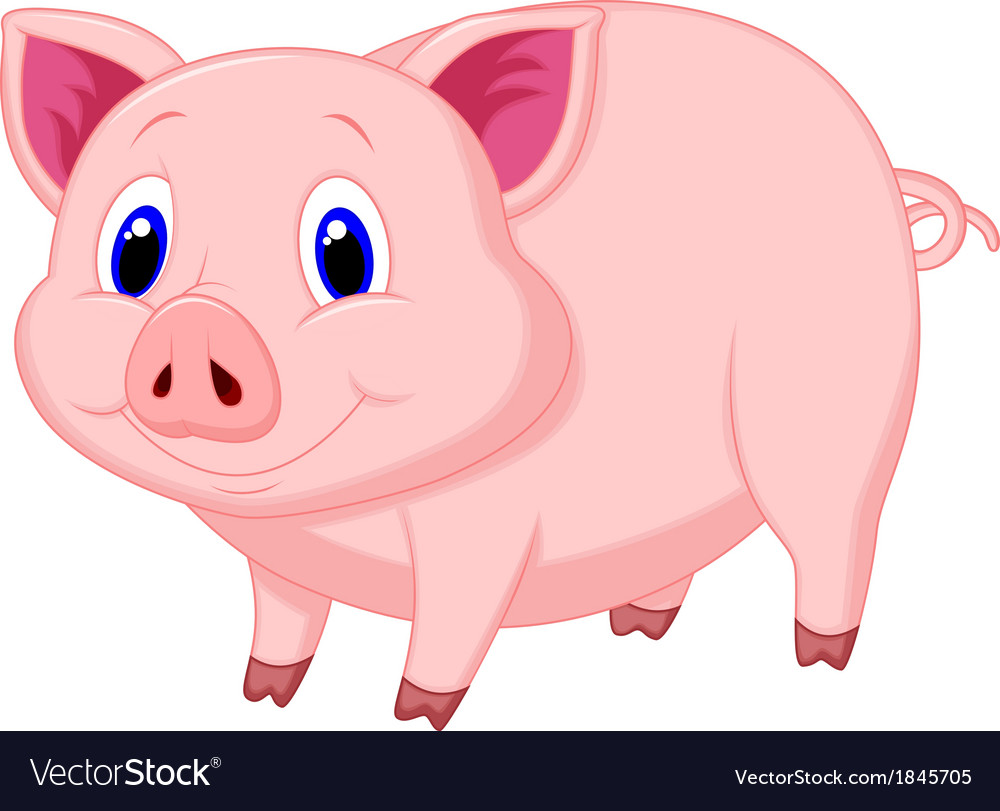 Cute pig cartoon vector | Price: 1 Credit (USD $1)
