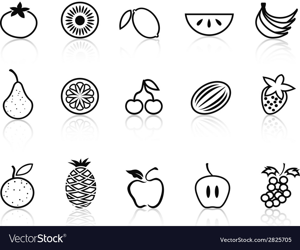 Fruit outline icons set vector | Price: 1 Credit (USD $1)