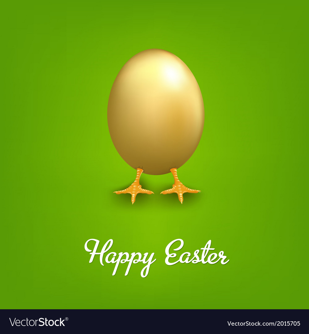 Happy easter card with golden egg vector | Price: 1 Credit (USD $1)