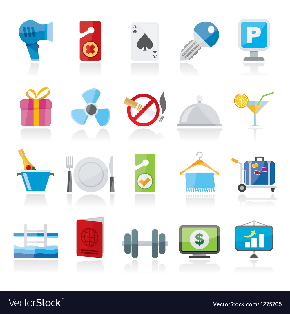 Hotel and motel services icons 2 vector | Price: 1 Credit (USD $1)