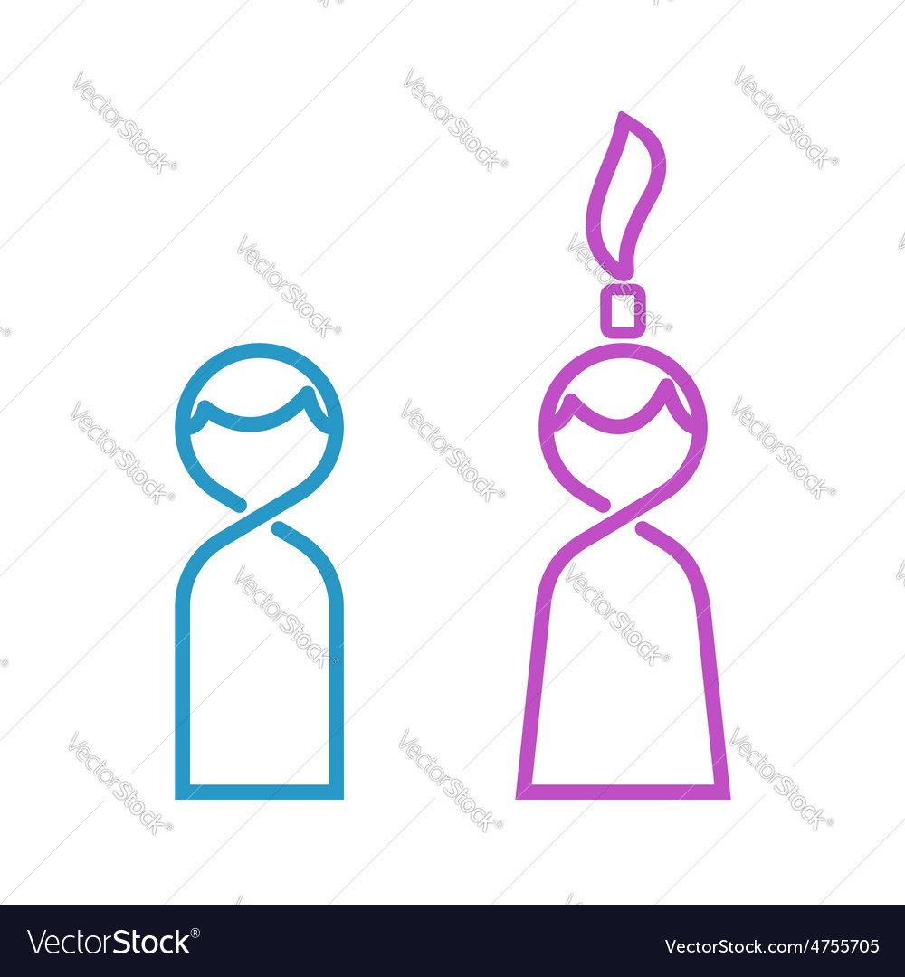 Male and female thin line toilet icon man and vector | Price: 1 Credit (USD $1)
