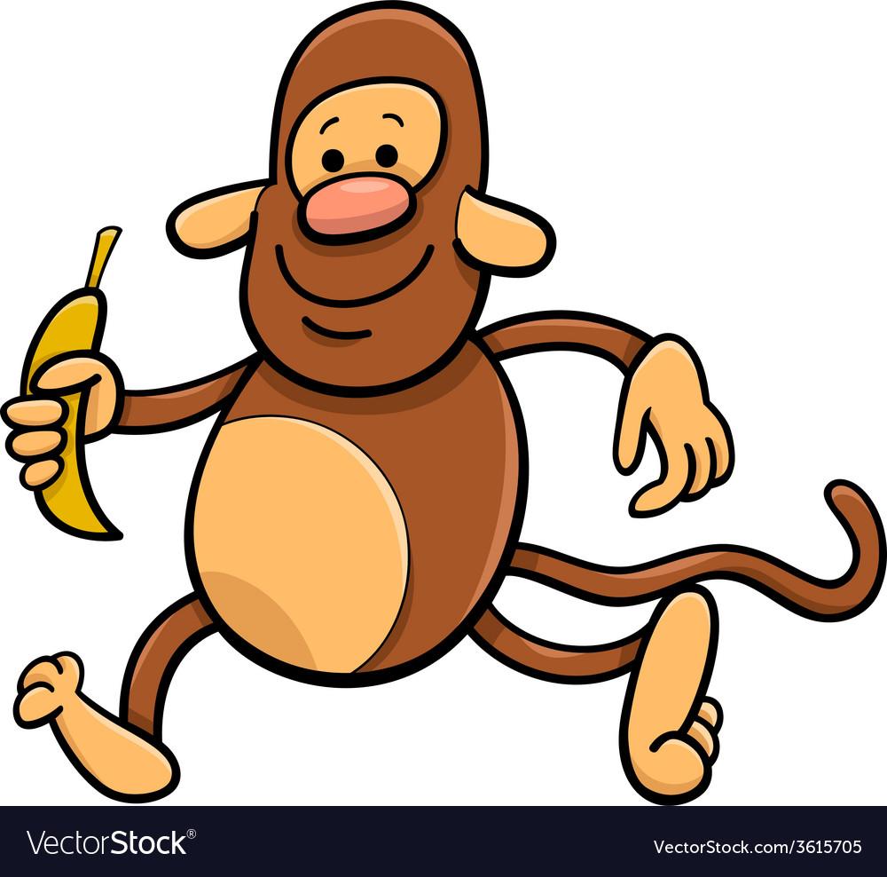 Monkey with banana cartoon vector | Price: 1 Credit (USD $1)