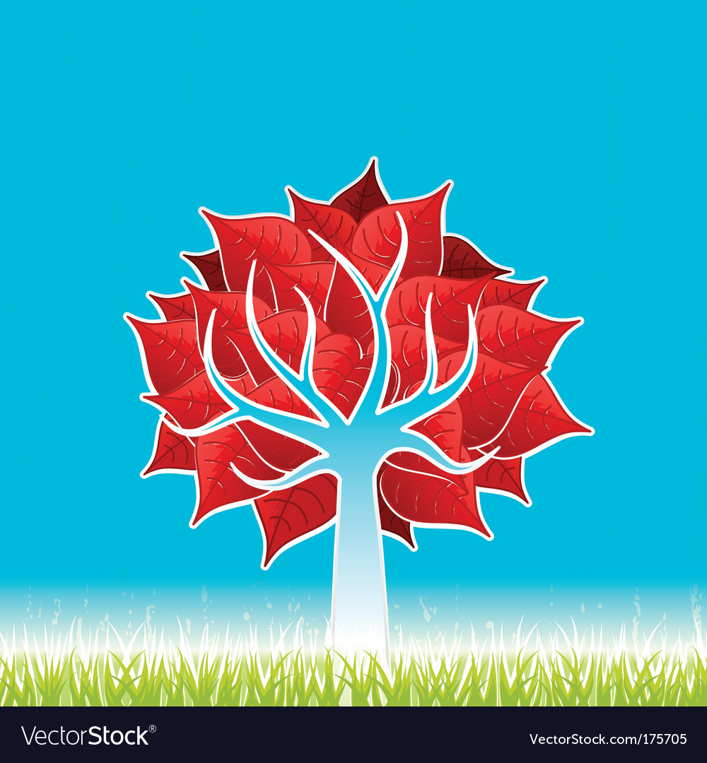 Red leaf tree vector | Price: 1 Credit (USD $1)