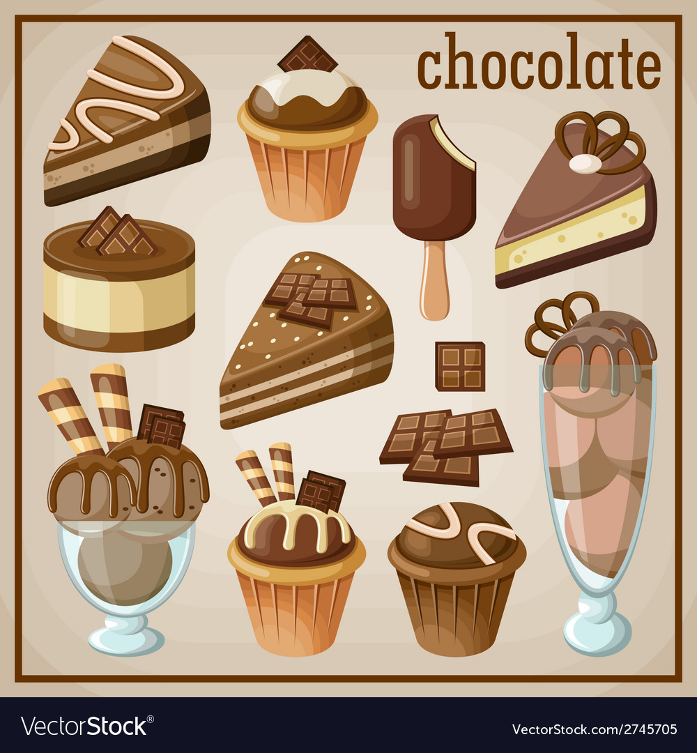 Set of sweets and chocolate vector | Price: 3 Credit (USD $3)