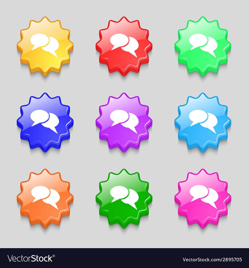 Speech bubble icons think cloud symbols set vector | Price: 1 Credit (USD $1)