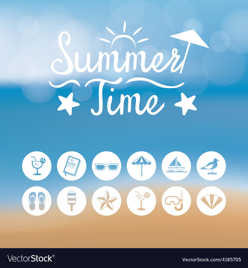 Summer flat icons and heading on blur background vector | Price: 3 Credit (USD $3)