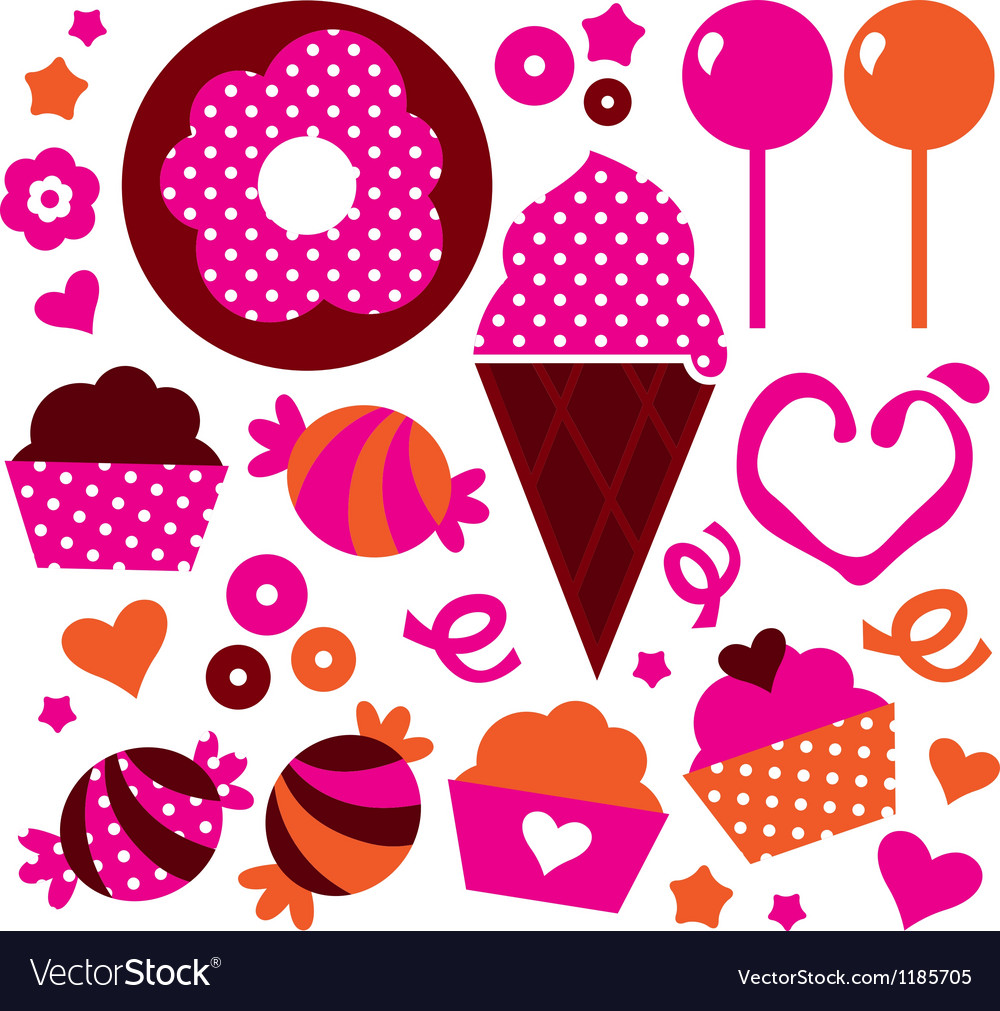 Sweet patterned cakes set for valentines day vector | Price: 1 Credit (USD $1)
