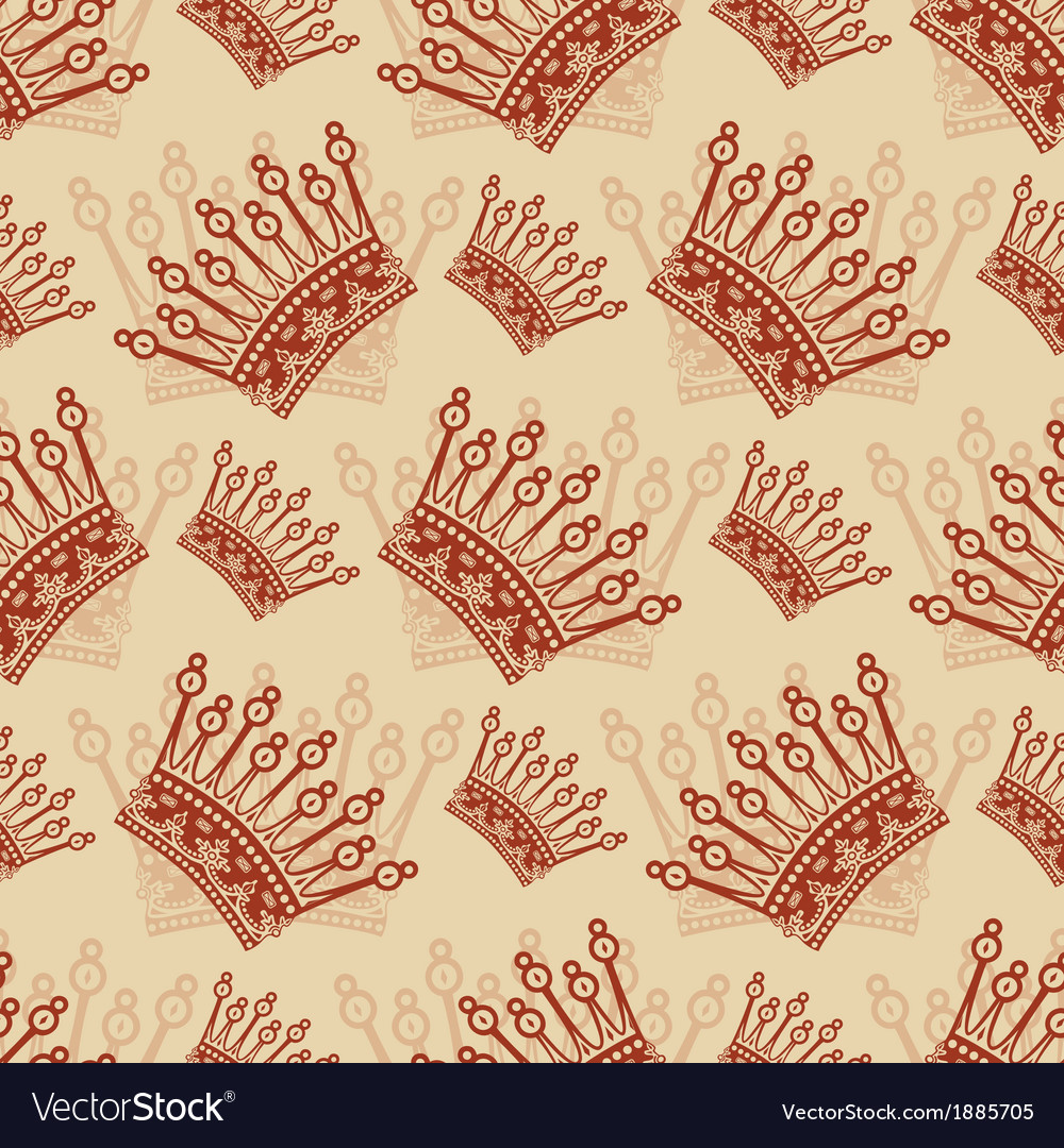 Vintage seamless background with crown pattern vector | Price: 1 Credit (USD $1)