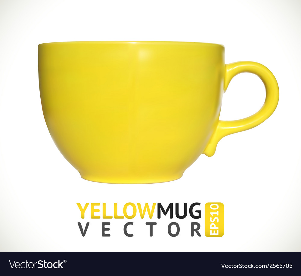 Yellow mug empty blank for coffee or tea isolated vector | Price: 1 Credit (USD $1)