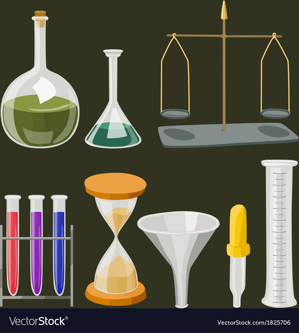 Cartoon chemistry laboratory objects in flat vector | Price: 1 Credit (USD $1)
