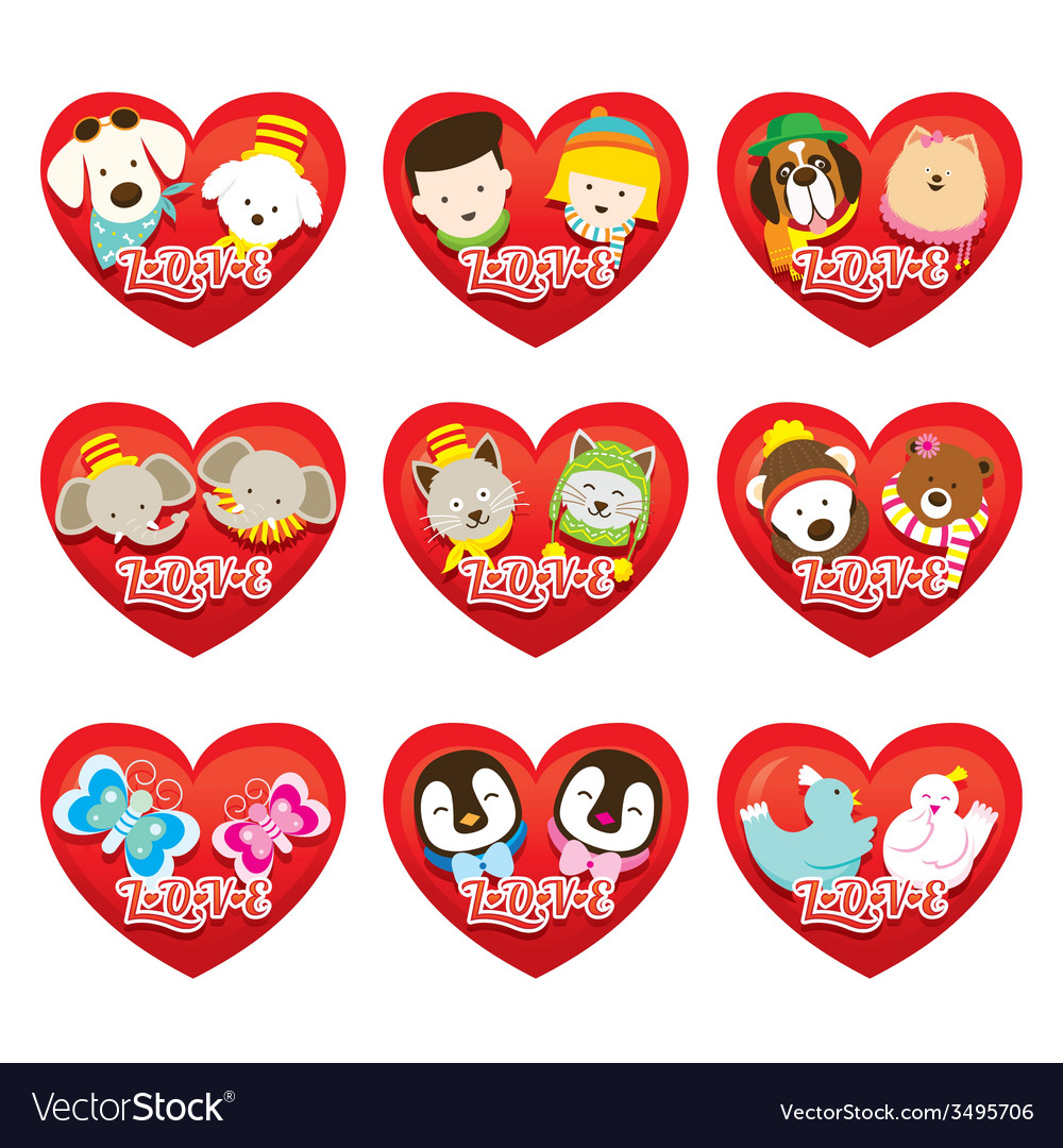 Couple people and animal set vector | Price: 1 Credit (USD $1)