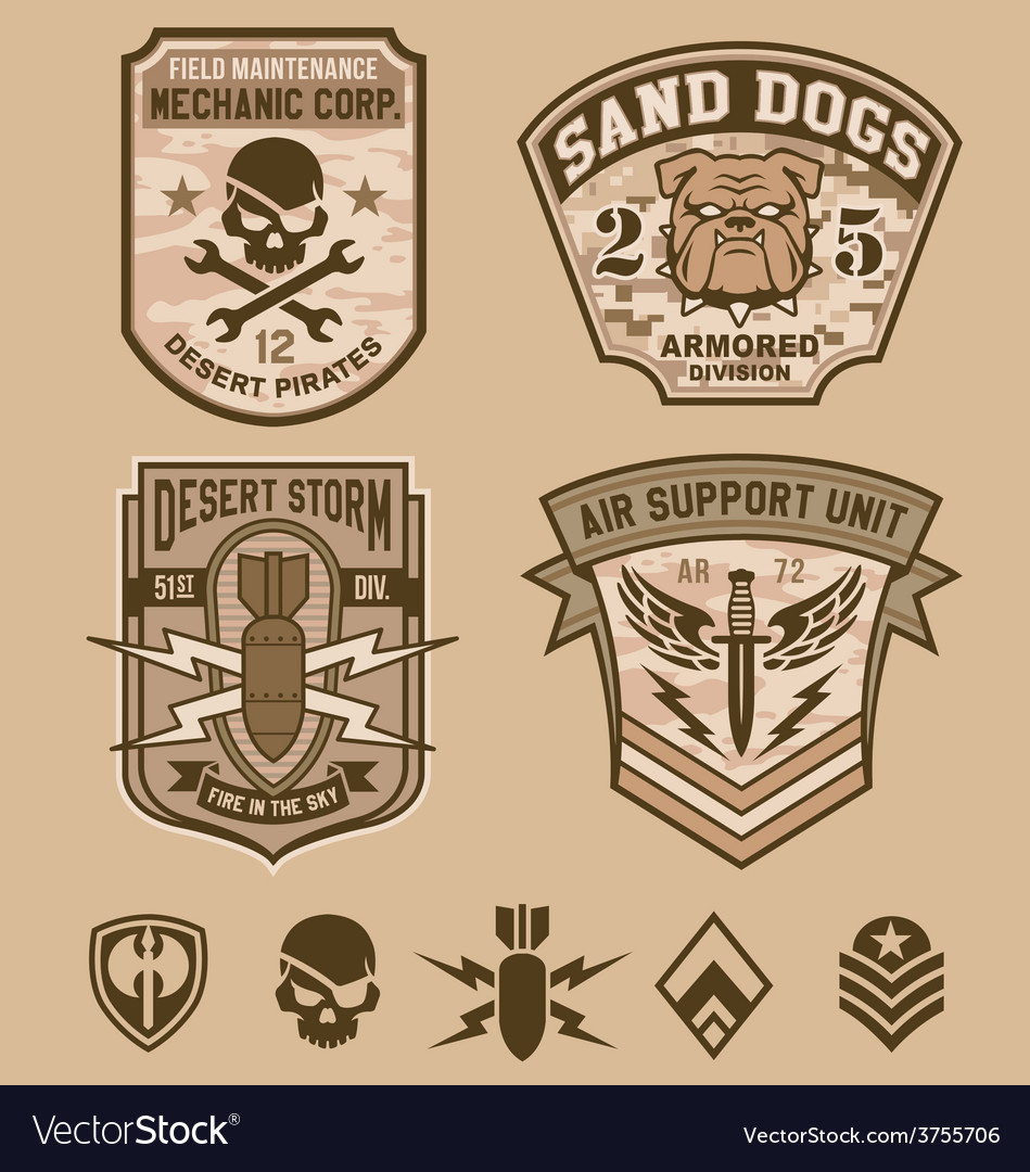 Desert military patches vector | Price: 1 Credit (USD $1)
