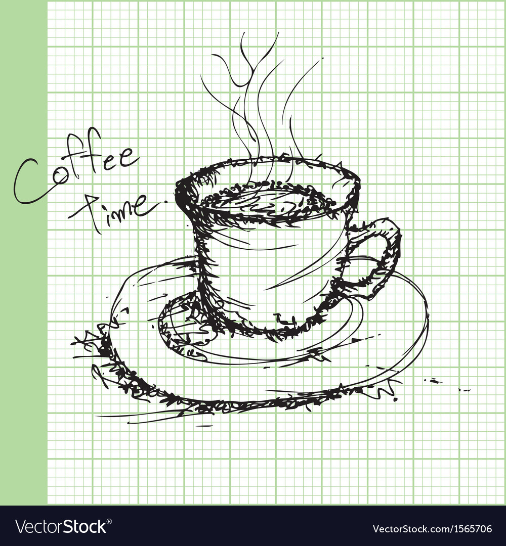 Draw sketches of coffee on graph paper ector vector | Price: 1 Credit (USD $1)