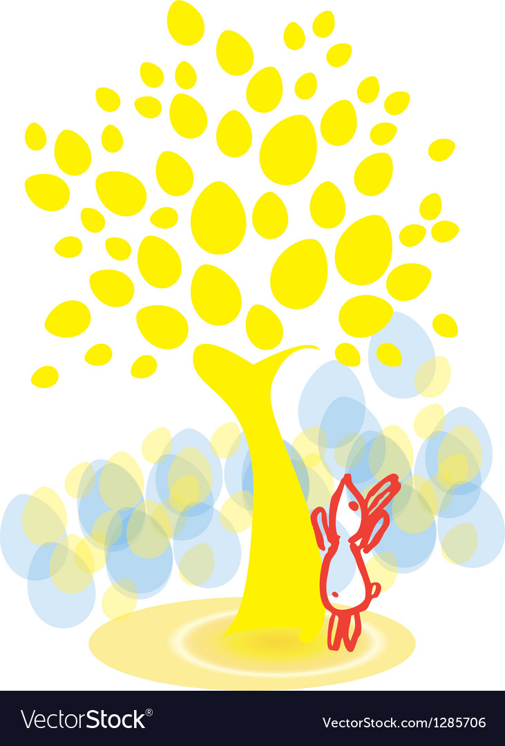 Easter bunny under the egg-tree vector | Price: 1 Credit (USD $1)