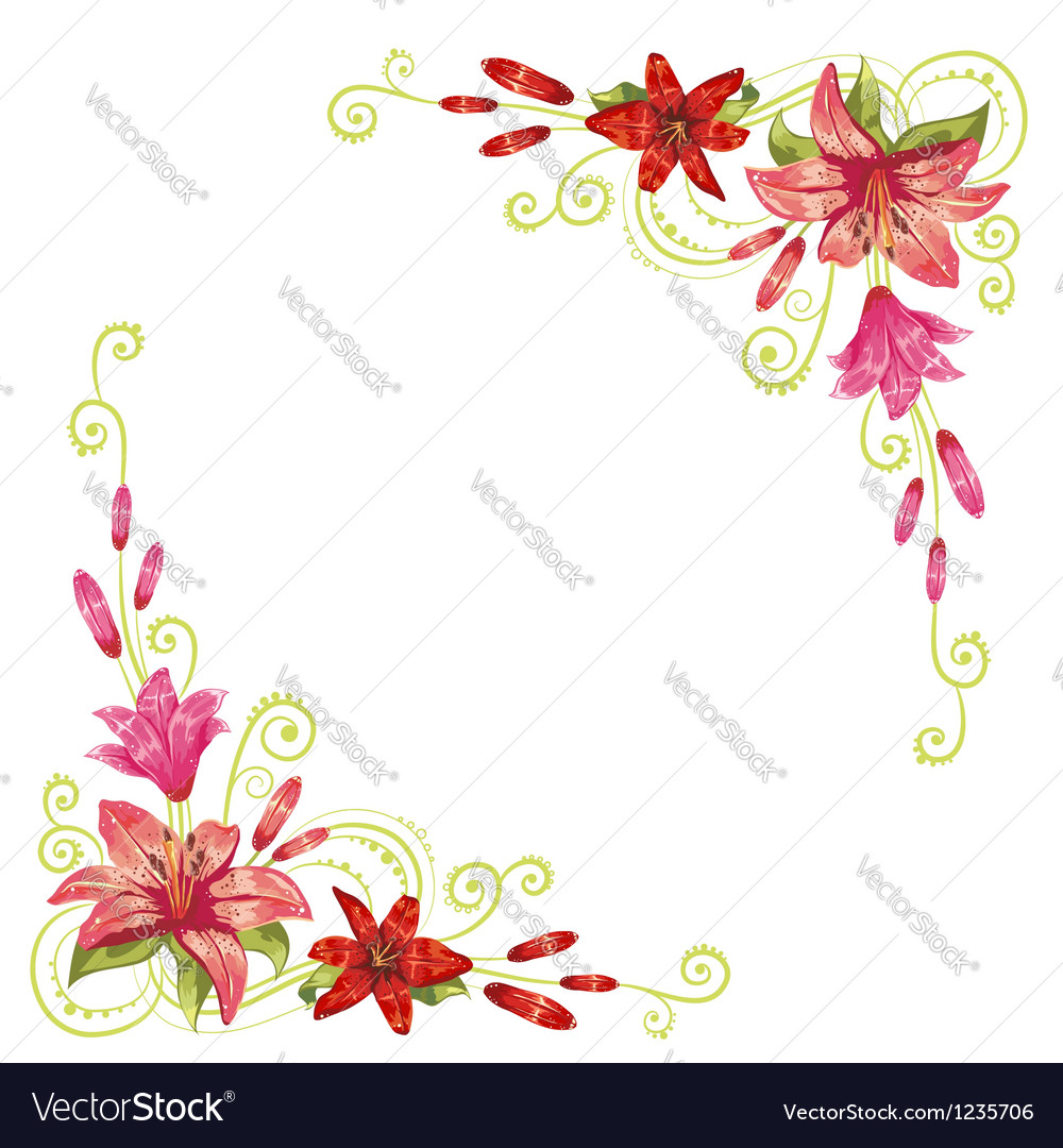 Elegant curves flower corners isolated vector | Price: 3 Credit (USD $3)