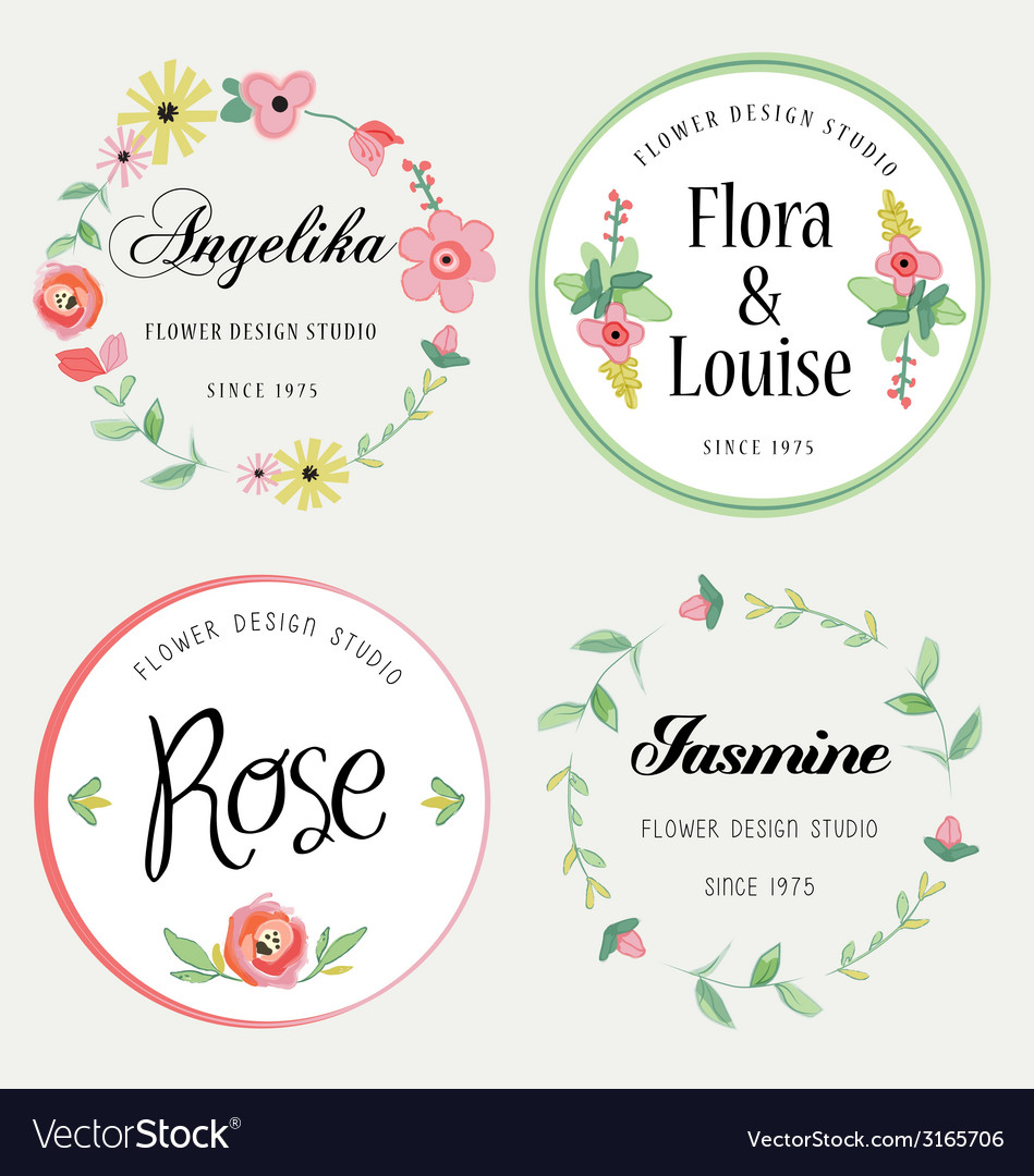Flowers design elements vector | Price: 1 Credit (USD $1)