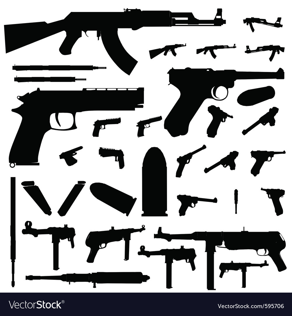 Guns and weapons silhouettes vector | Price: 1 Credit (USD $1)