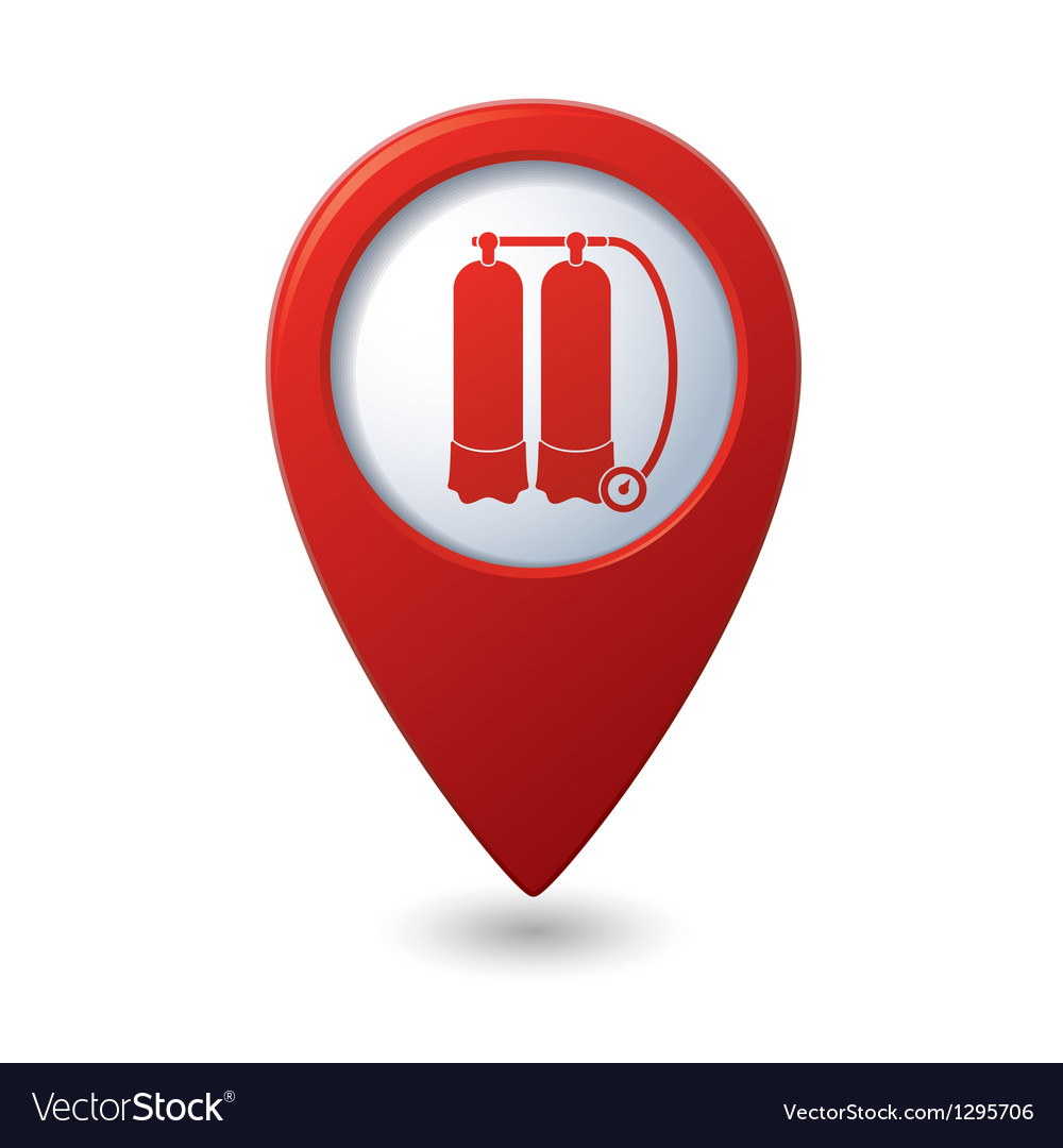 Map pointer with aqualung icon vector | Price: 1 Credit (USD $1)