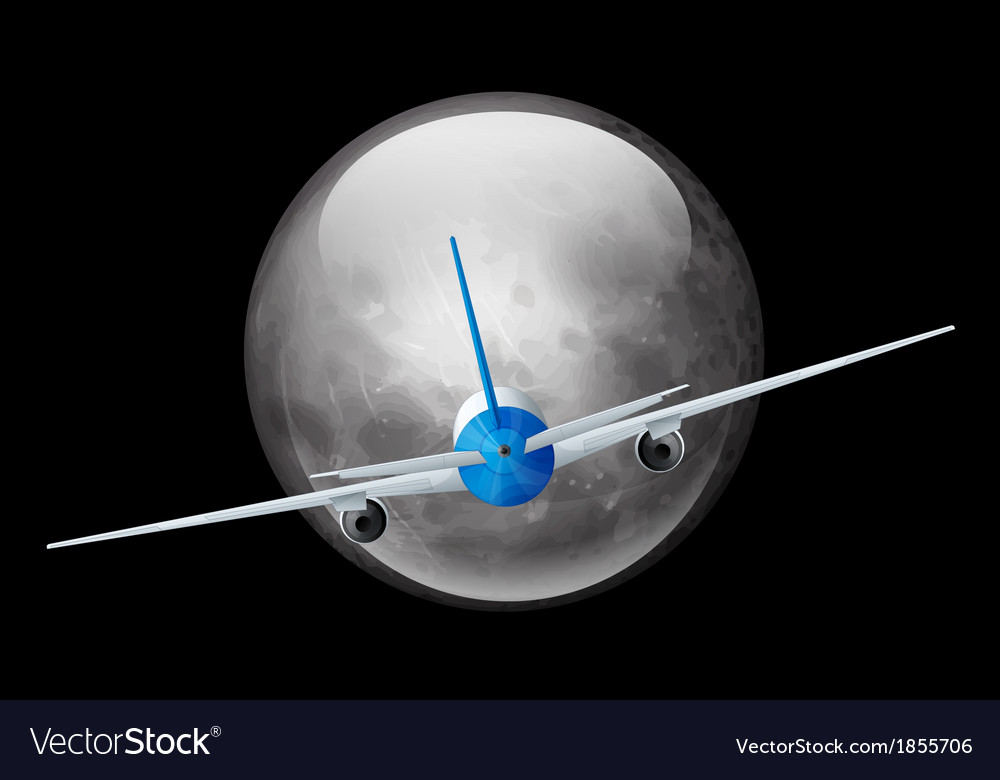 Moon and airplane vector | Price: 1 Credit (USD $1)