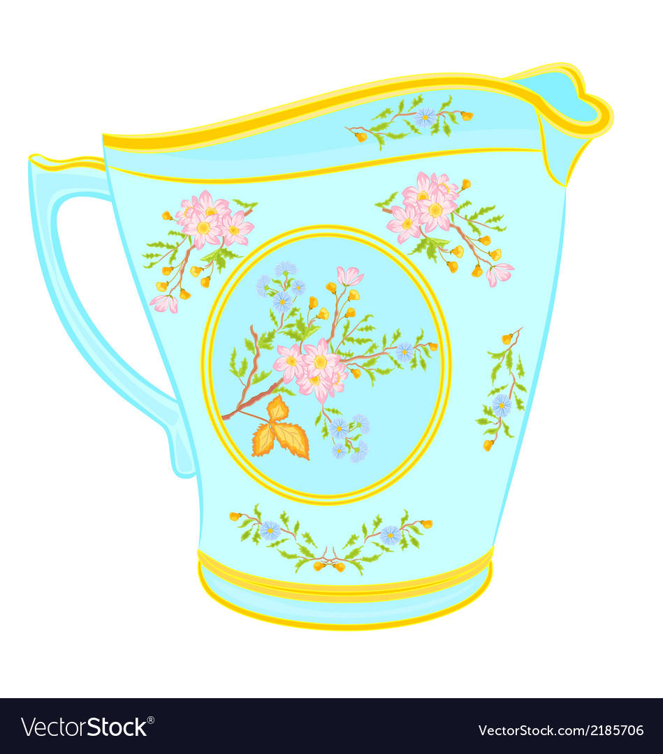 Porcelain milk jug with floral pattern tea service vector | Price: 1 Credit (USD $1)