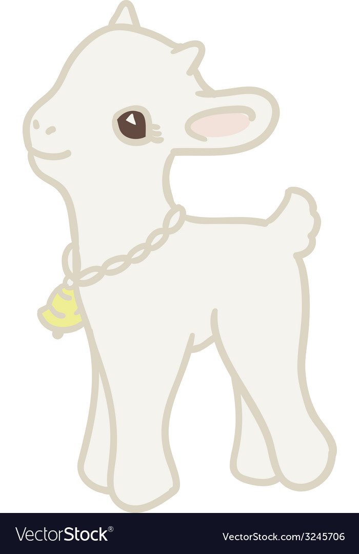 Pretty card with little goat vector | Price: 1 Credit (USD $1)