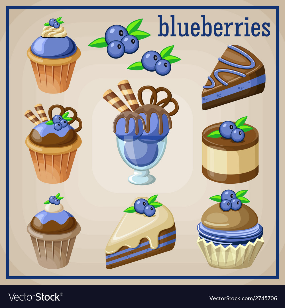 Set of sweets with blueberries vector | Price: 3 Credit (USD $3)
