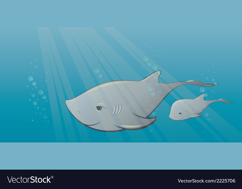 Shark and calf in sea vector | Price: 1 Credit (USD $1)