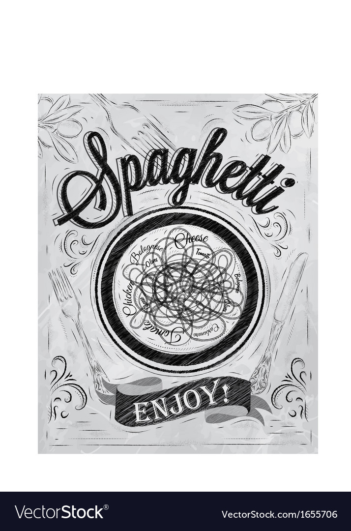 Spaghetti poster coal vector | Price: 1 Credit (USD $1)