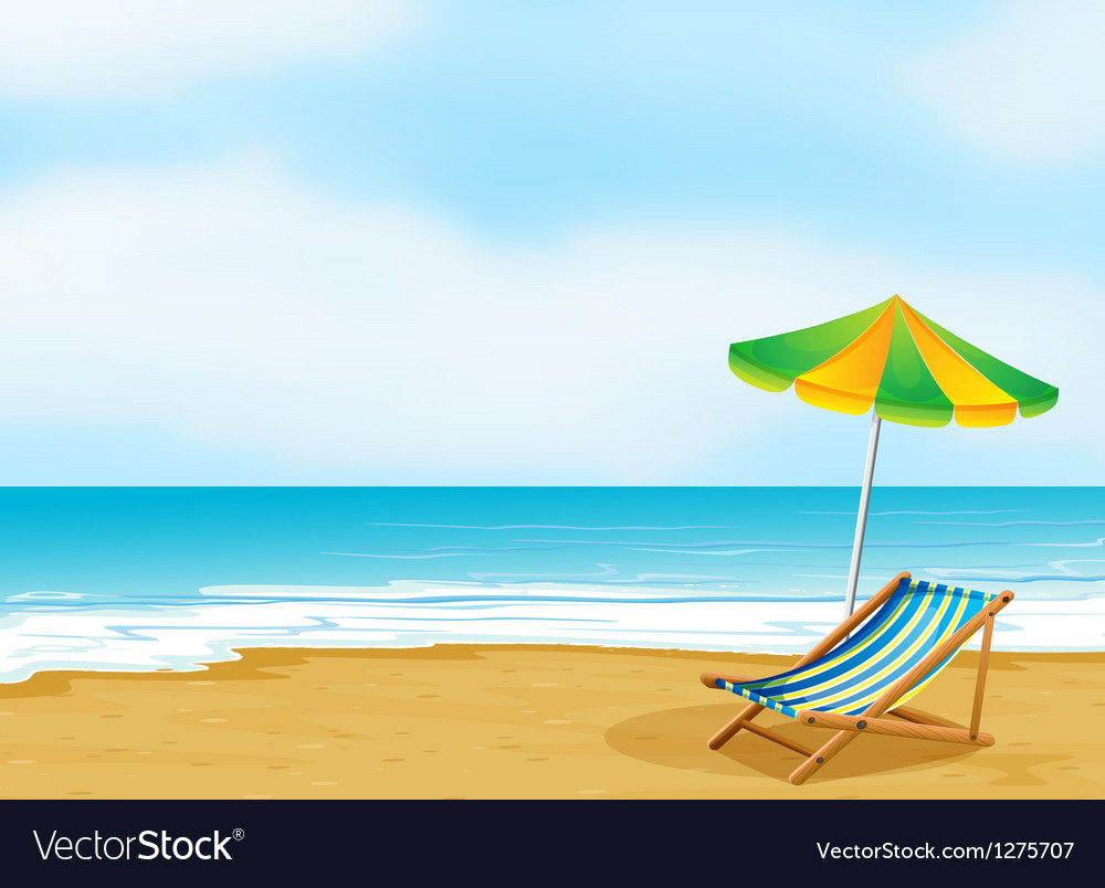 A relaxing beach with an umbrella and a foldable vector
