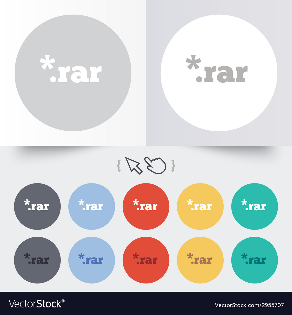 Archive file icon download rar button vector | Price: 1 Credit (USD $1)
