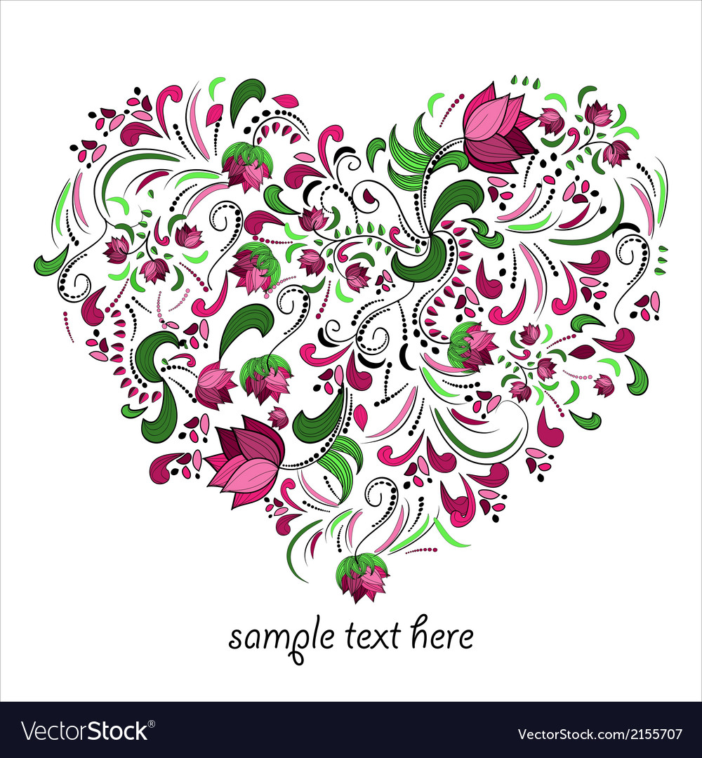 Bright heart made of flowers in vector | Price: 1 Credit (USD $1)