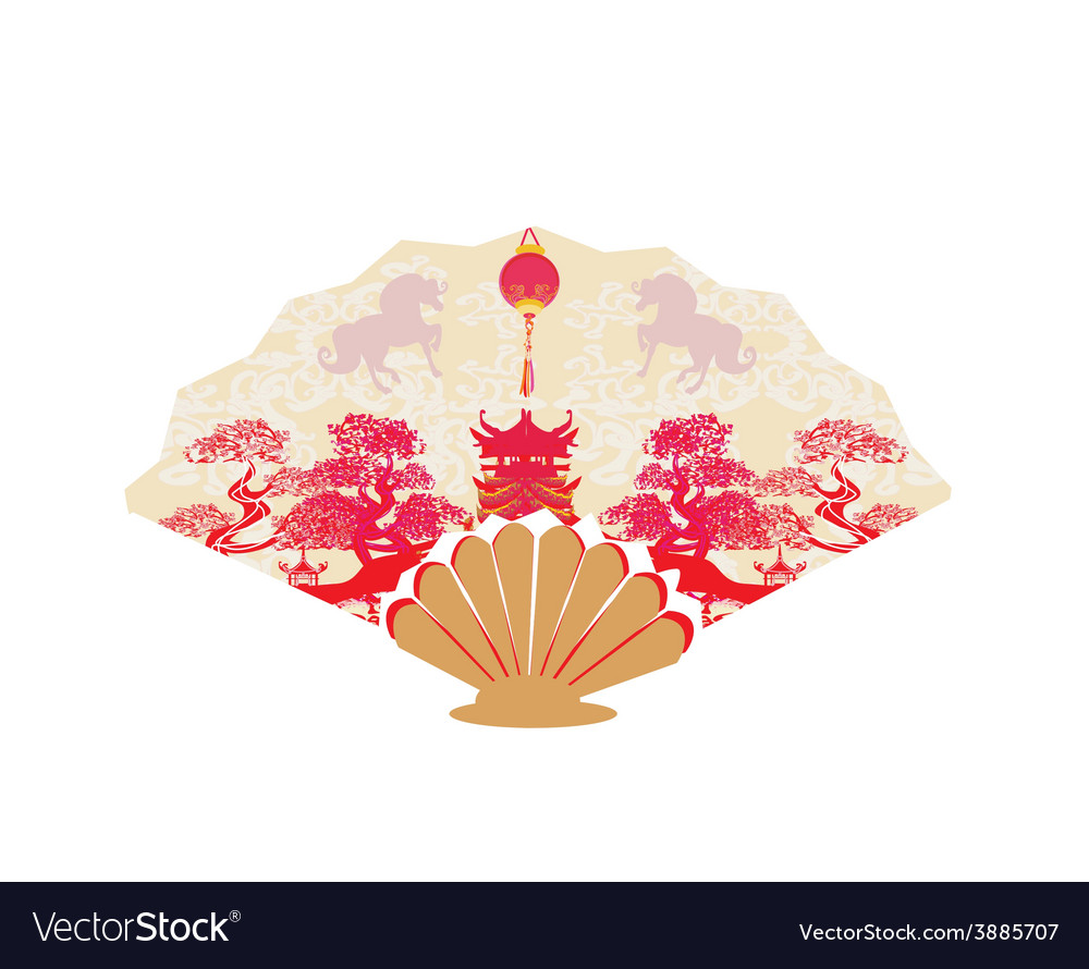 Decorative opened fan with patterns of year of vector | Price: 1 Credit (USD $1)