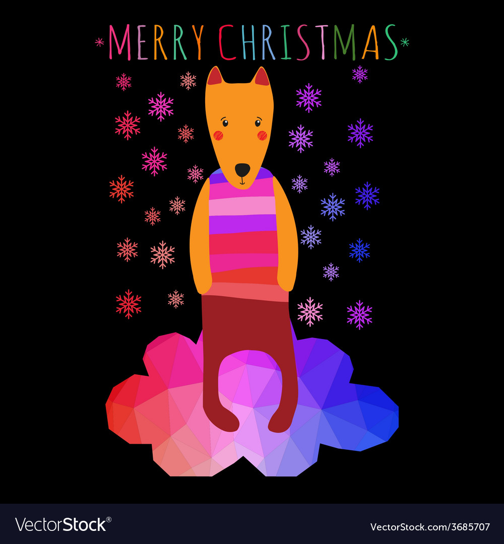 Greeting christmass card with cute colorful dog vector | Price: 1 Credit (USD $1)