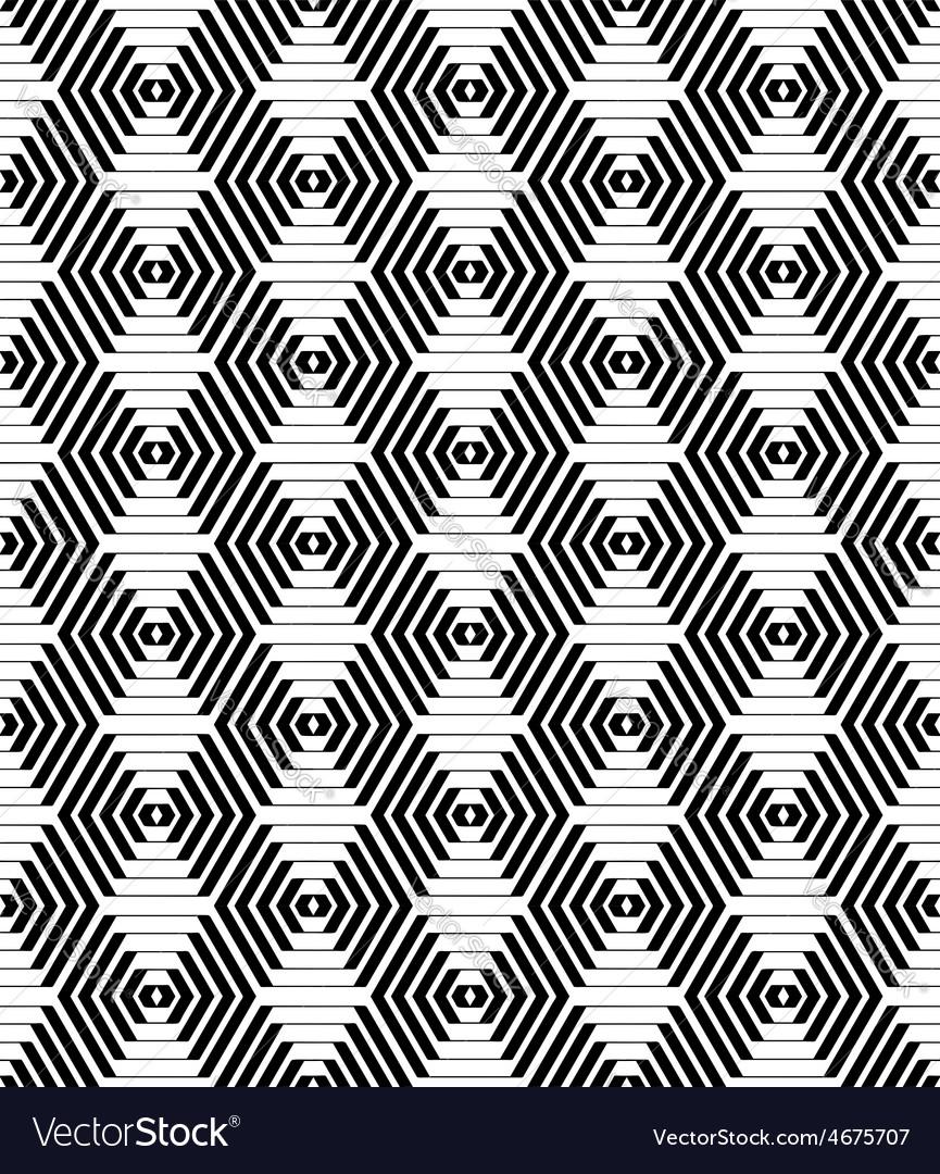 Hexagons and diamonds pattern vector