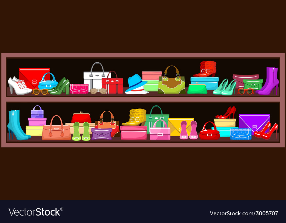 Image of a shelf with bags and shoes vector | Price: 1 Credit (USD $1)