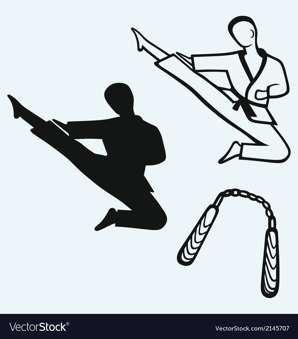 Karate male young fighter and nunchaku weapon vector | Price: 1 Credit (USD $1)